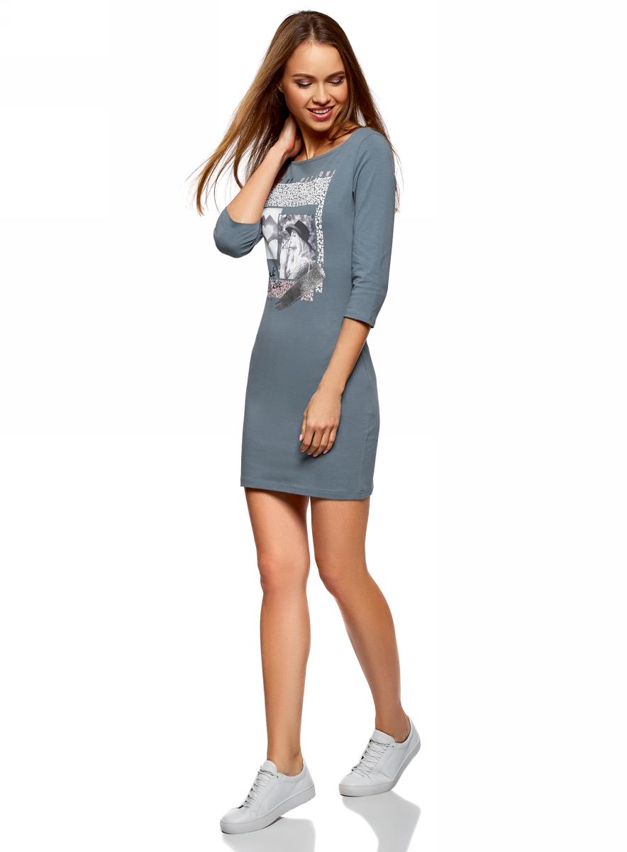 Платье oodji Ultra, цвет: серо-синий, светло-розовый. 14001071-16/47420/7440P. Размер M (46)14001071-16/47420/7440PСтильное мини-платье от oodji выполнено из эластичного хлопкового трикотажа. Модель приталенного кроя с рукавами 3/4 и круглым вырезом горловины на груди оформлена принтом.