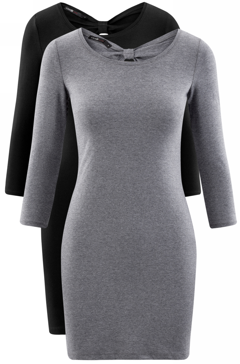 Платье oodji Ultra, цвет: черный, серый, 2 шт. 14001193T2/47420/19JAN. Размер L (48)14001193T2/47420/19JANСтильное платье от oodji выполнено из эластичного хлопкового трикотажа. Модель облегающего силуэта с рукавами 3/4 и круглым вырезом горловины на спинке декорирована вырезом-капелькой.В комплекте два платья.