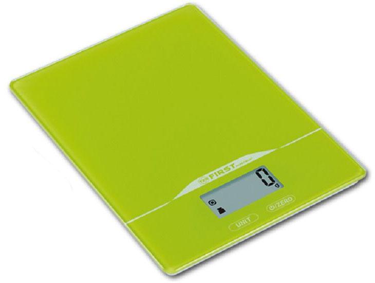 First FA-6400-2-GN, Green кухонные весыFA-6400-2-GNКухонные весы First FA-6400-2 - это отличный помощник на вашей кухне. Функция компенсации тары позволит взвешивать не учитывая массу тары, а высокая точность даст возможность точно следовать вашим любимым рецептам. Имеется индикатор перегрузки. С помощью данной модели также можно измерять объем жидкости.