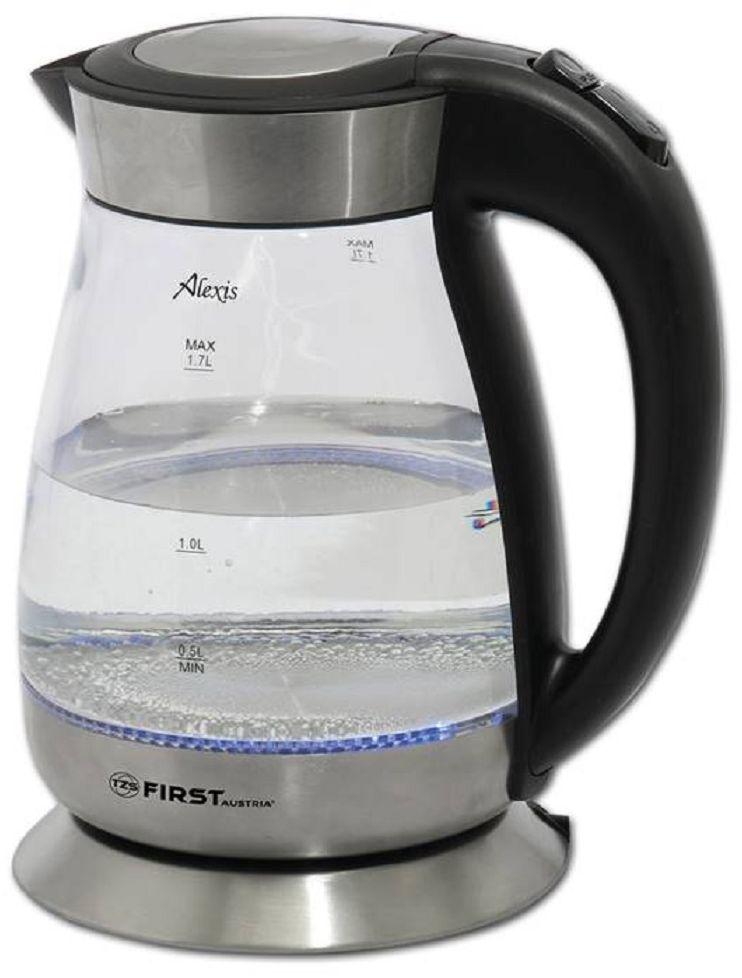 First FA-5406, Black Transparent электрический чайник 1,7 лFA-5406 BlackЧайник First FA-5406 - простая и практичная модель, незаменимая на любой кухне.Чайник объемом 1,7 л, в считанные минуты вскипятит воду. Модель выполнена из стекла — экологически чистого материала, который при нагревании не выделяет вредных веществ. Чайник имеет скрытый нагревательный элемент из нержавеющей стали, вращается на 360 градусов.Такой элегантный чайник станет превосходным украшением любого чаепития.