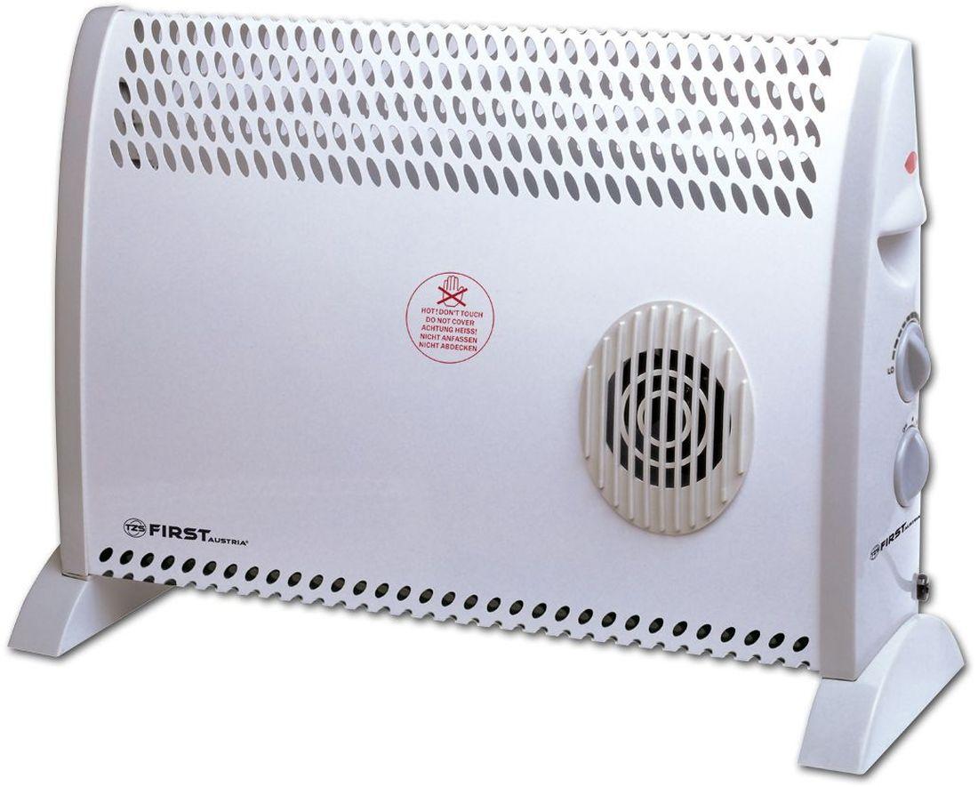 First FA-5570-1, White конвектор электрическийFA-5570-1 WhiteКонвектор First FA-5570-1 предназначен для обогрева и создания комфортной атмосферы в помещении в холодное время года. Данный конвектор отлично подходит для помещений до 25 квадратных метров.Принцип действия конвектора основан на конвекции - естественной циркуляции воздуха. Холодный воздух, находящийся в нижней части помещения, проходя через нагревательный элемент конвектора, увеличивается в объеме и устремляется вверх через выходные решетки, расположенные спереди. За счет направленного движения воздуха происходит обогрев помещения.Встроенный вентилятор