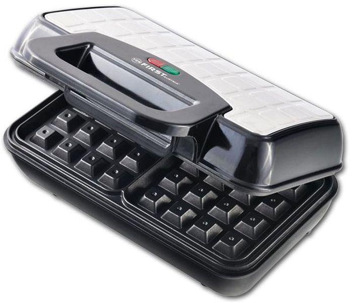 First FA-5305-4, Black вафельницаFA-5305-4 BlackВафельница FIRST 5305-4 Black, мощность 700 Вт, регулируемый термостат, корпус из термостойкого пластика декорированный сталью, антипригарное покрытие, световой индикатор температуры, световой индикатор. Питания