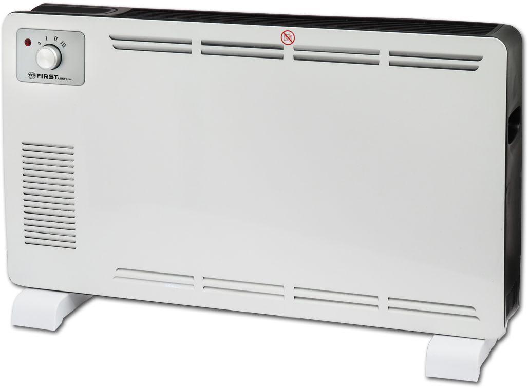 First FA-5570-2, White конвектор электрическийFA-5570-2 WhiteКонвектор First FA-5570-2 предназначен для обогрева и создания комфортной атмосферы в помещении в холодное время года. Данный конвектор отлично подходит для помещений до 25 квадратных метров.Принцип действия конвектора основан на конвекции - естественной циркуляции воздуха. Холодный воздух, находящийся в нижней части помещения, проходя через нагревательный элемент конвектора, увеличивается в объеме и устремляется вверх через выходные решетки, расположенные спереди. За счет направленного движения воздуха происходит обогрев помещения.Как выбрать обогреватель. Статья OZON Гид