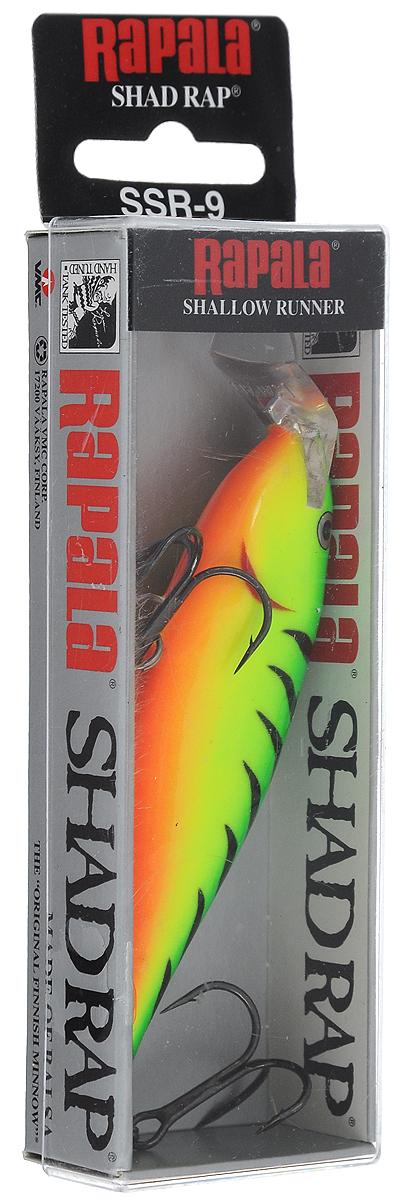 Воблер Rapala. SSR09-FTSSR09-FTShallow Shad Rap является мелкопогружающейся версией воблера ShadRap. Это эффективный воблер, который можно рекомендовать для ловли на мелкой воде с большим количеством растительности. Он эффективен как при рыбалке взаброс, так и при ловле троллингом.