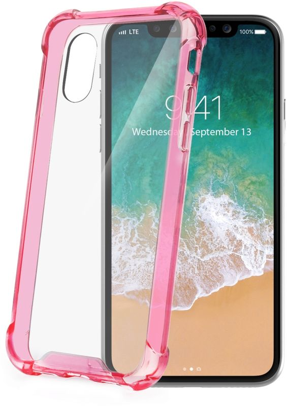 Celly Armor чехол для Apple iPhone X, PinkARMOR900PKЗащитный чехол-накладка Celly Armor полностью соответствует совместимому устройству по форме и размерам. Углы клип-кейса оснащены слегка выступающими элементами, выполненными из упругого материала. При падении они принимают на себя энергию удара, благодаря чему сам телефон остается целым и невредимым. Прозрачный аксессуар не портит внешний вид смартфона, не мешает пользоваться камерой и обеспечивает доступ к функциональным клавишам и разъемам. Он легко надевается на устройство, а при необходимости так же просто снимается.