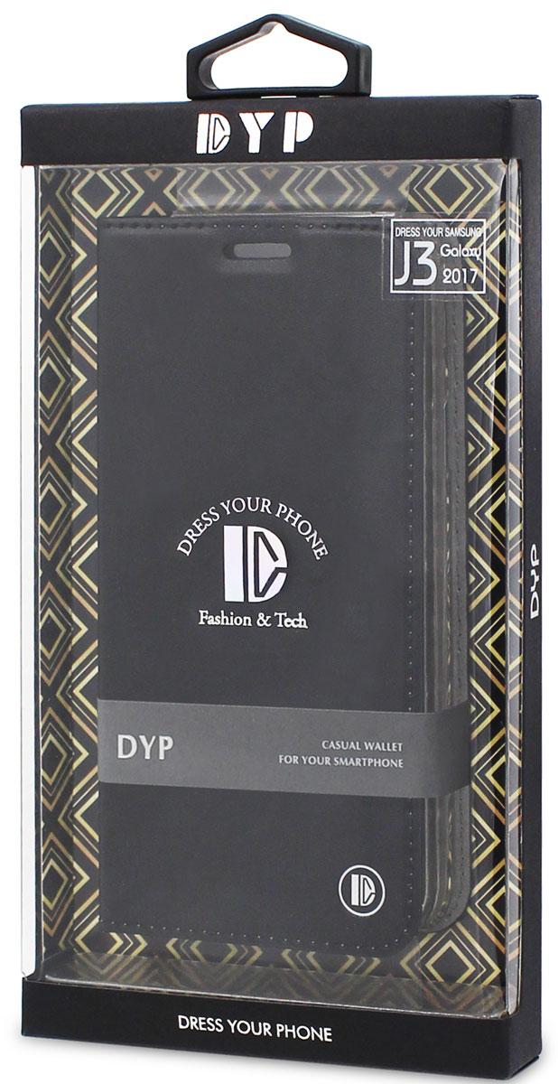 DYP Casual Wallet чехол для Samsung Galaxy J3 (2017), BlackDYPCR00017Чехол-книжка DYP Casual Wallet выполнен из высококачественных материалов и практически не увеличивает размер устройства. А благодаря его удобной конструкции все функциональные кнопки и разъемы остаются свободными. Чехол надежно защитит ваш аппарат от царапин и сколов, механических повреждений, а также позволит хранить кредитные карты или визитки в специально отведенном кармашке. Крышка может использоваться как подставка под устройство, для удобного просмотра видео.