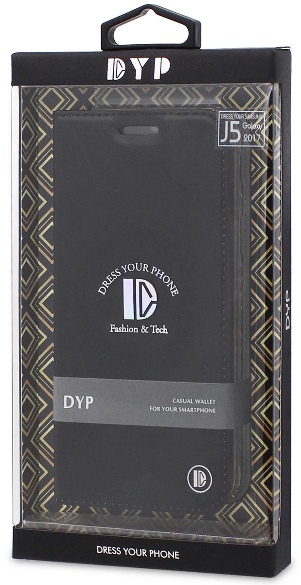 DYP Casual Wallet чехол для Samsung Galaxy J5 (2017), BlackDYPCR00018Чехол-книжка DYP Casual Wallet выполнен из высококачественных материалов и практически не увеличивает размер устройства. А благодаря его удобной конструкции все функциональные кнопки и разъемы остаются свободными. Чехол надежно защитит ваш аппарат от царапин и сколов, механических повреждений, а также позволит хранить кредитные карты или визитки в специально отведенном кармашке. Крышка может использоваться как подставка под устройство, для удобного просмотра видео.