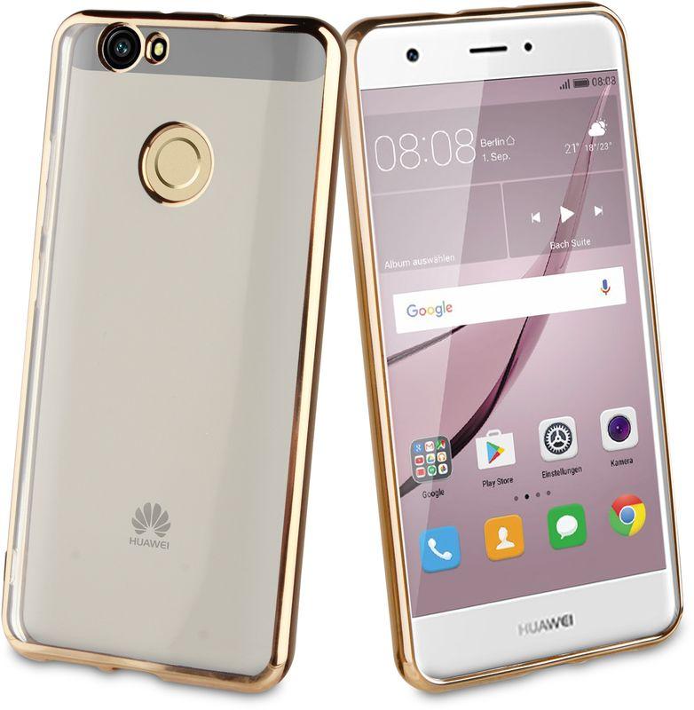 Muvit Bling Case чехол-накладка для Huawei Nova, GoldMLBKC0185Прозрачный с цветным краем чехол-накладка выполнен из противоударного термопластичного полиуретана. Идеальное эргономичное решение для защиты вашего смартфона.