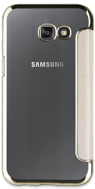 Muvit Bling Folio Case чехол для Samsung Galaxy A7 (2017), GoldMLFLC0018Чехол-книжка Muvit Bling Folio надежно защитит ваш смартфон от ударов, царапин, падений и загрязнения, оставляя при этом все разъемы и элементы управления в открытом доступе. Чехол выполнен из высококачественной искусственной кожи, поэтому он прослужит в течение длительного времени, сохраняя презентабельный внешний вид.