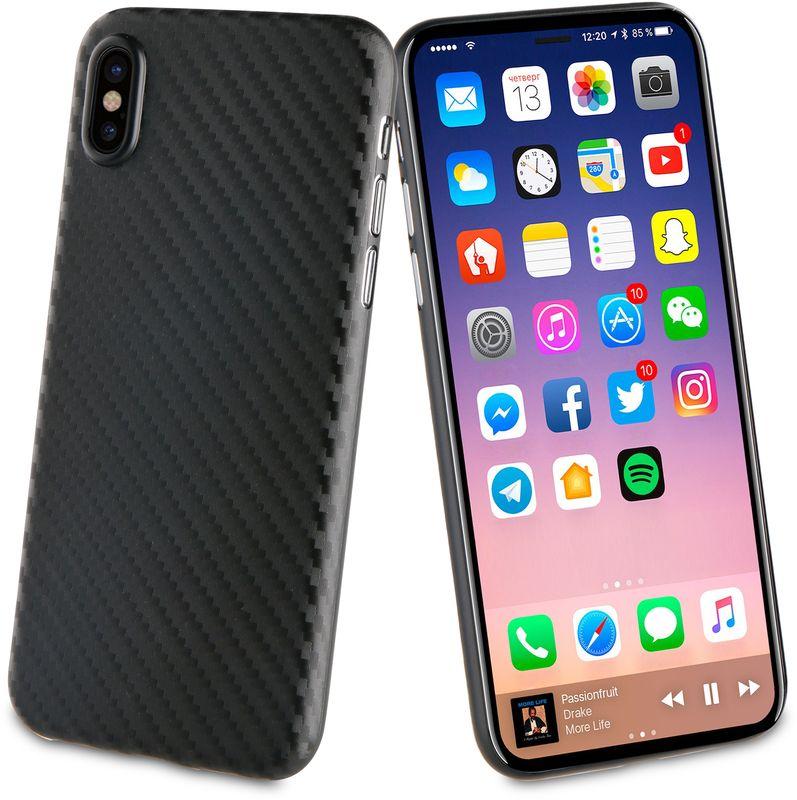 Muvit Carbon Case чехол для Apple iPhone X, BlackMUBKC0948Чехол-накладка с рисунком под Carbon изготавливается из высококачественных материалов и точно повторяет размеры вашего гаджета. Не оставляет зазоров, не увеличивает толщину корпуса и не ухудшает его функционал.