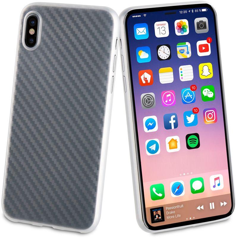 Muvit Carbon Case чехол для Apple iPhone XMUBKC0949Чехол-накладка с рисунком под Carbon изготавливается из высококачественных материалов и точно повторяет размеры вашего гаджета. Не оставляет зазоров, не увеличивает толщину корпуса и не ухудшает его функционал.