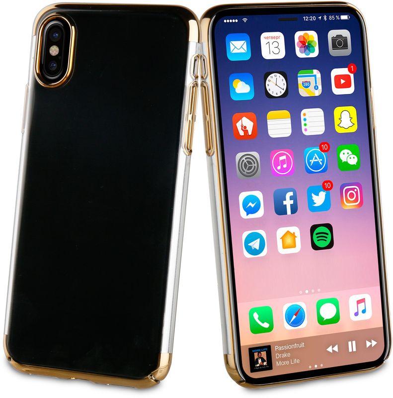 Muvit Crystal Case чехол для Apple iPhone X, GoldMUCRY0170Тонкий защитный чехол Crystal это прозрачный чехол. Выполнен из термополиуретана, поскольку этот материал поглощает удары. Обеспечивает эффективную защиту Вашего устройства.Материал термополиуретанПрозрачныйПротивоударный