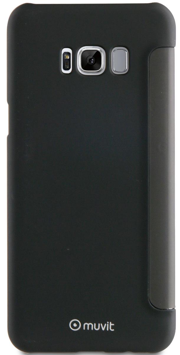 Muvit Folio Case чехол для Samsung Galaxy S8, BlackMUTSF0001Передняя крышка чехла Muvit Folio Case Touch Front позволяет контролировать основные функции, пользоваться Вашим устройством, не открывая чехол. Матовое покрытие обеспечивает более высокое тактильное ощущение.Сенсорный флипОтображение времениФункция ответа на звонки
