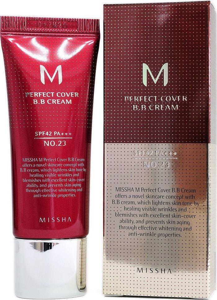 Missha M Perfect Cover BB Cream №23 Natural Beige ВВ крем Натуральный беж, 20 мл missha signature extreme cover concealer 21 цвет 21 light beige