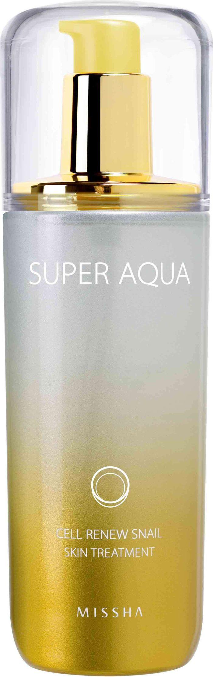 Missha Super Aqua Cell Renew Snail Essential Moisturizer Регенерирующая эмульсия для лица, 130 мл8806150658946Восстанавливающая эмульсия с секретом улитки – второй компонент после тоника в антивозрастной линейке Super Aqua Cell Renew Snail марки Missha Применяется для кожи, которая нуждается в дополнительном питании, омоложении, восстановлении и увлажнении Специальный состав предназначен для активации естественного процесса регенерации и омоложения клеток в кратчайшие сроки Морская вода – источник минералов и солей, которые полностью впитываются и усваиваются кожей Основной компонент эмульсии - это экстракт улитки, богатый источник эластина, коллагена, витаминов, аминокислот, гликолевой кислоты, аллантоина и хитозана Дополнительный компонент для активного восстановления - стволовые клетки почек и ростков целебных растений При регулярном применении начинается быстрый процесс восстановления межклеточных тканей, клеток эпидермиса и интенсивного увлажнения, что приводит к разглаживанию морщин, сглаживанию шрамов и улучшению цвета лица Благодаря витамину В3 кожа становится светлее, сглаживаются пигментные пятна и устраняются воспаления Вытяжка баобаба в составе средства выполняет защитную функцию, оберегает кожу от пересыхания и образования микротравм
