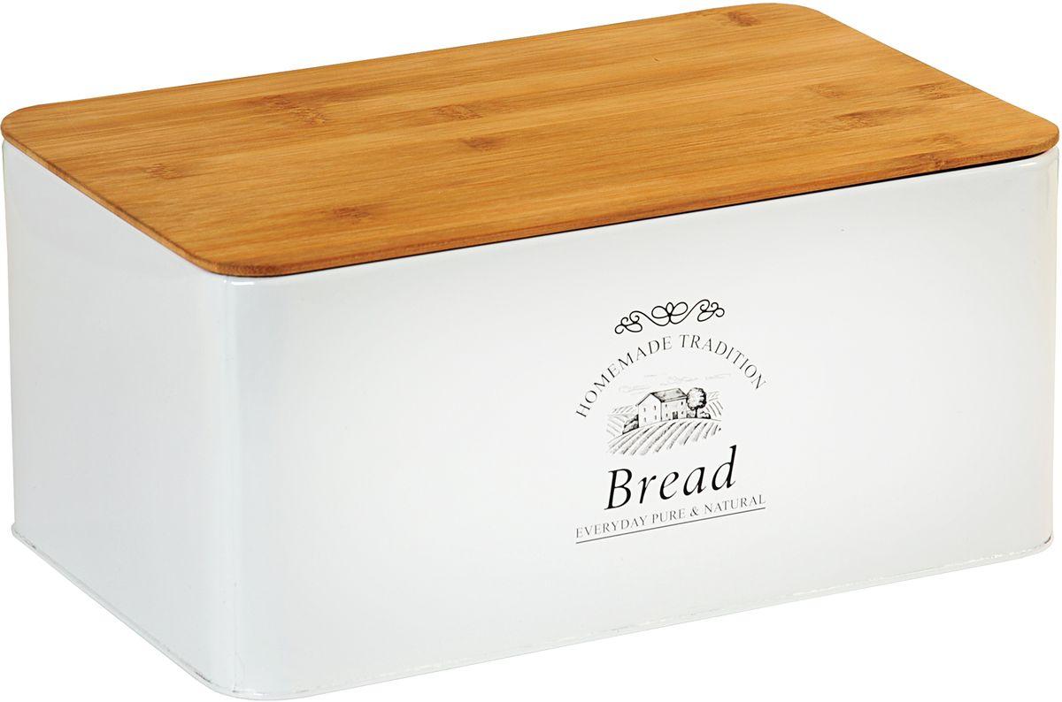 Хлебница Kesper, 32,5 х 15 х 21 см1804-5Хлебница Kesper представляет собой контейнер из металла с крышкой. Крышка выполнена издерева, которая также служит разделочной доской. Такая хлебница позволит сохранить ваш хлебсвежим и вкусным.