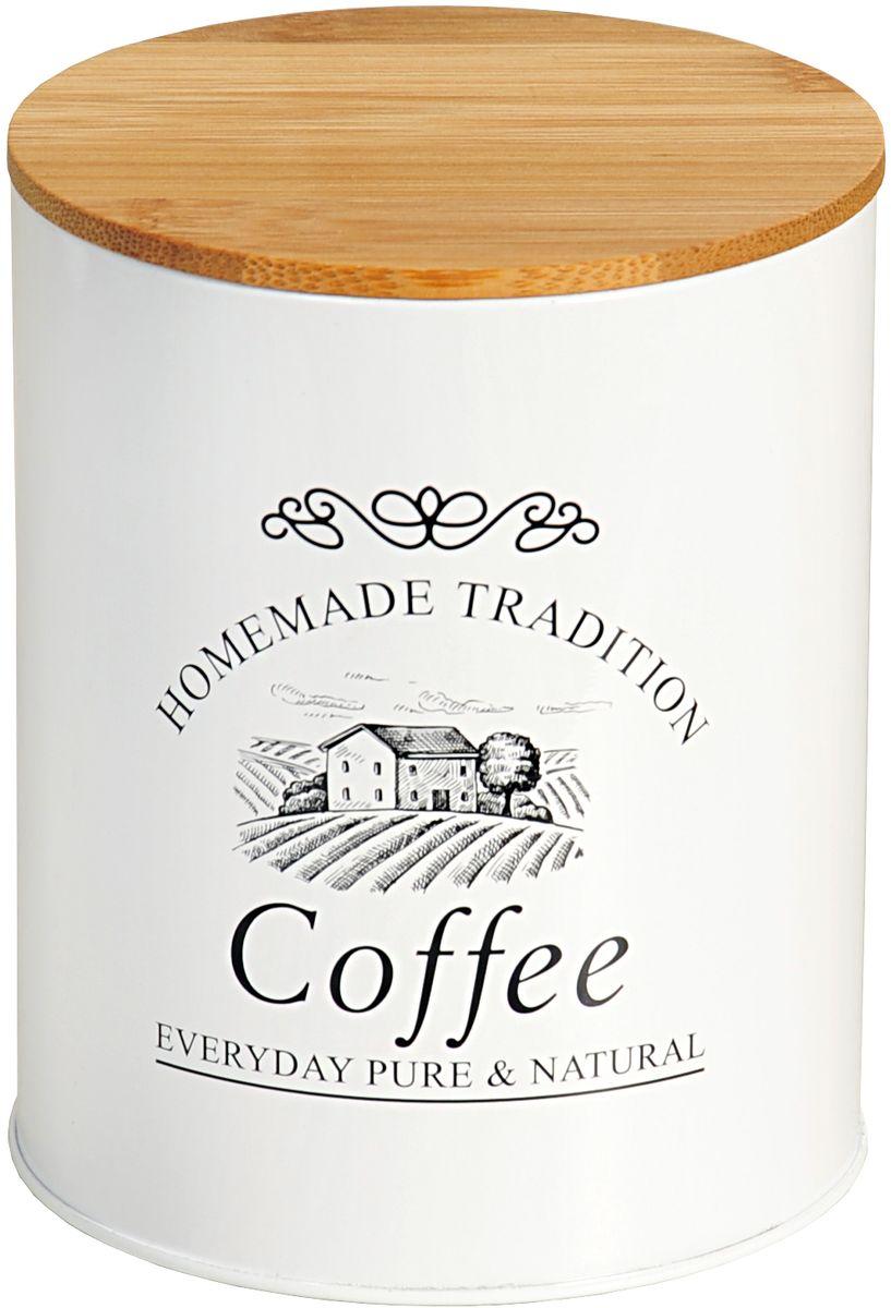 """Банка Kesper """"Coffee"""", выполненная из металла, снабжена деревянной крышкой, которая плотно и герметично закрывается, дольше сохраняя аромат и свежесть содержимого. Изделие предназначено для хранения любого вида кофе. Стильная и практичная банка станет незаменимым аксессуаром на любой кухне."""