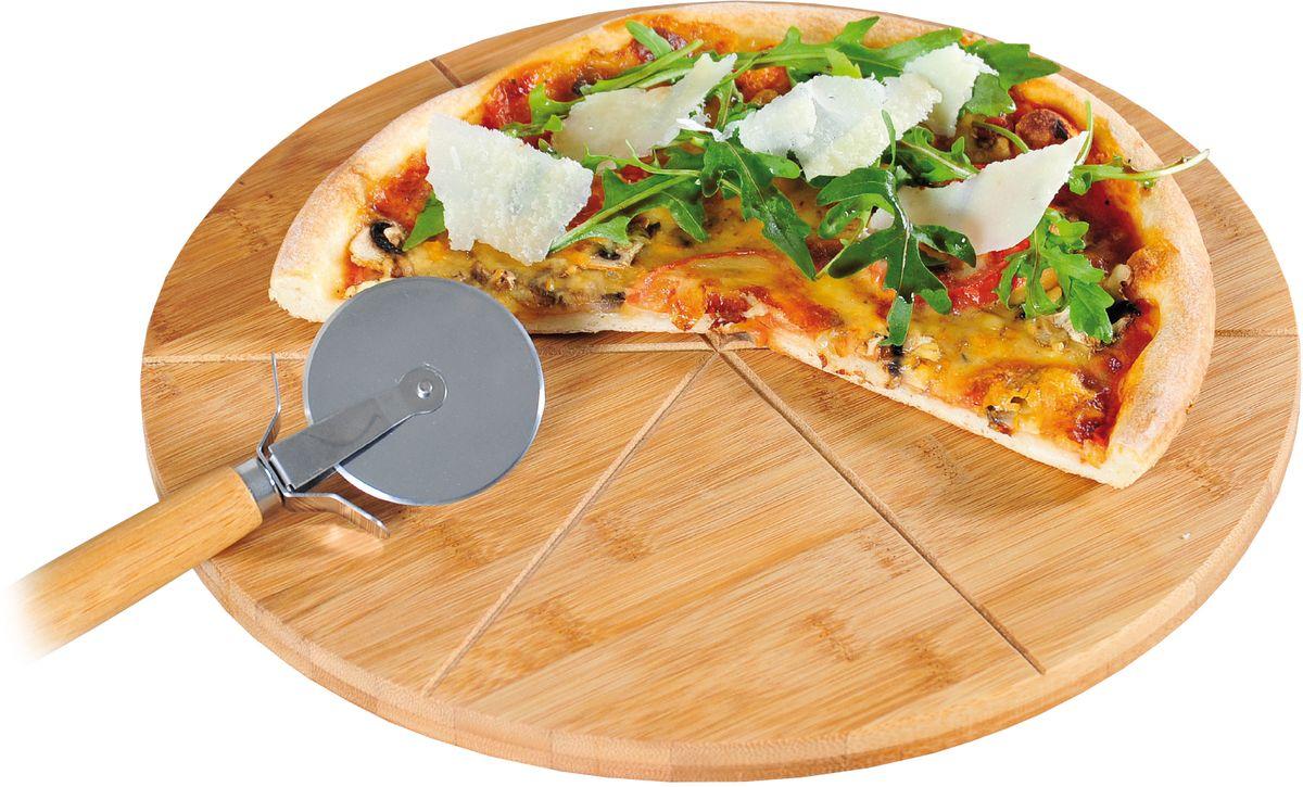 Доска для пиццы Kesper, с ножом, диаметр 32 см5846-2Доска для пиццы Kesper изготовлена из высококачественного дерева. Прорезанные бороздки позволяют нарезать пиццу ровными кусочками. Нож, который прилагается к доске, позволит быстро и аккуратно нарезать пиццу на порции.