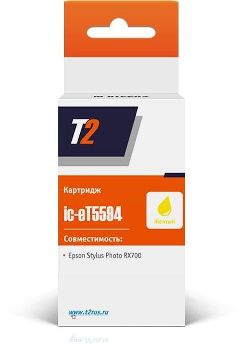 T2 IC-ET5594, Yellow картридж для Epson Stylus Photo RX700 с чипомC13T55944010Картридж T2 IC-ET559 прошел тестирование и полностью соответствует стандартам типа STMC и ISO.При его производстве использовались исключительно высококачественные материалы и современные технологии. Его корпус полностью состоит из полимерных материалов, а печатающая головка из металла высокого качества.Картриджи для различных печатных устройств производства компании T2 отличаются своей экономичностью, доступностью цены, качеством и простотой использования.
