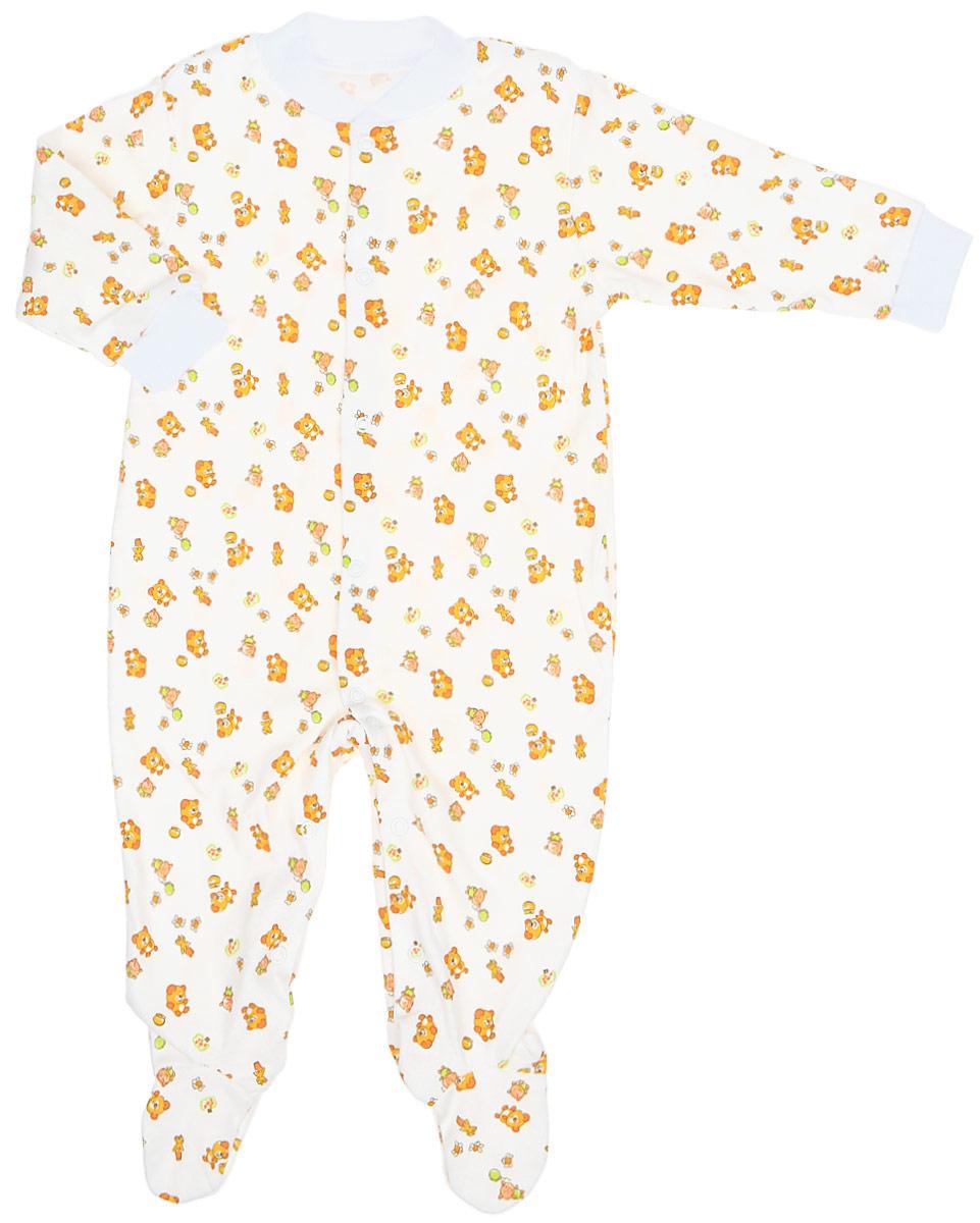 Комбинезон детский Фреш Стайл, цвет: белый, оранжевый. 33-526. Размер 74, 12 месяцев33-526С комбинезоном Фреш Стайл спинка и ножки малыша всегда будут в тепле. Комбинезон с длинными рукавами и с закрытыми ножками, выполненный из мягкого и приятного на ощупь велюра, не сковывает движения младенца, идеален для использования днем и незаменим ночью, а удобные застежки-кнопки позволяют легко переодеть ребенка и не мешают ему во время сна.Комбинезон с забавным рисунком имеет воротничок и манжеты на рукавах, которые выполнены из трикотажного полотна. В таком комбинезоне ваш малыш будет чувствовать себя комфортно и уютно. Он согреет вашего ребенка в прохладную погоду и послужит замечательным дополнением к детскому гардеробу.УВАЖАЕМЫЕ КЛИЕНТЫ!Обращаем ваше внимание на возможные изменения в деталях рисунка. Поставка осуществляется в зависимости от наличия на складе. Цветовая гамма и дизайн изделия остаются неизменными.