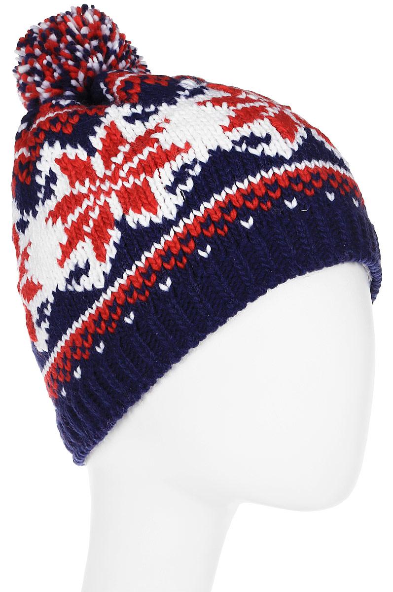 Шапка женская Icepeak, цвет: синий, красный. 855848613IV-360. Размер универсальный