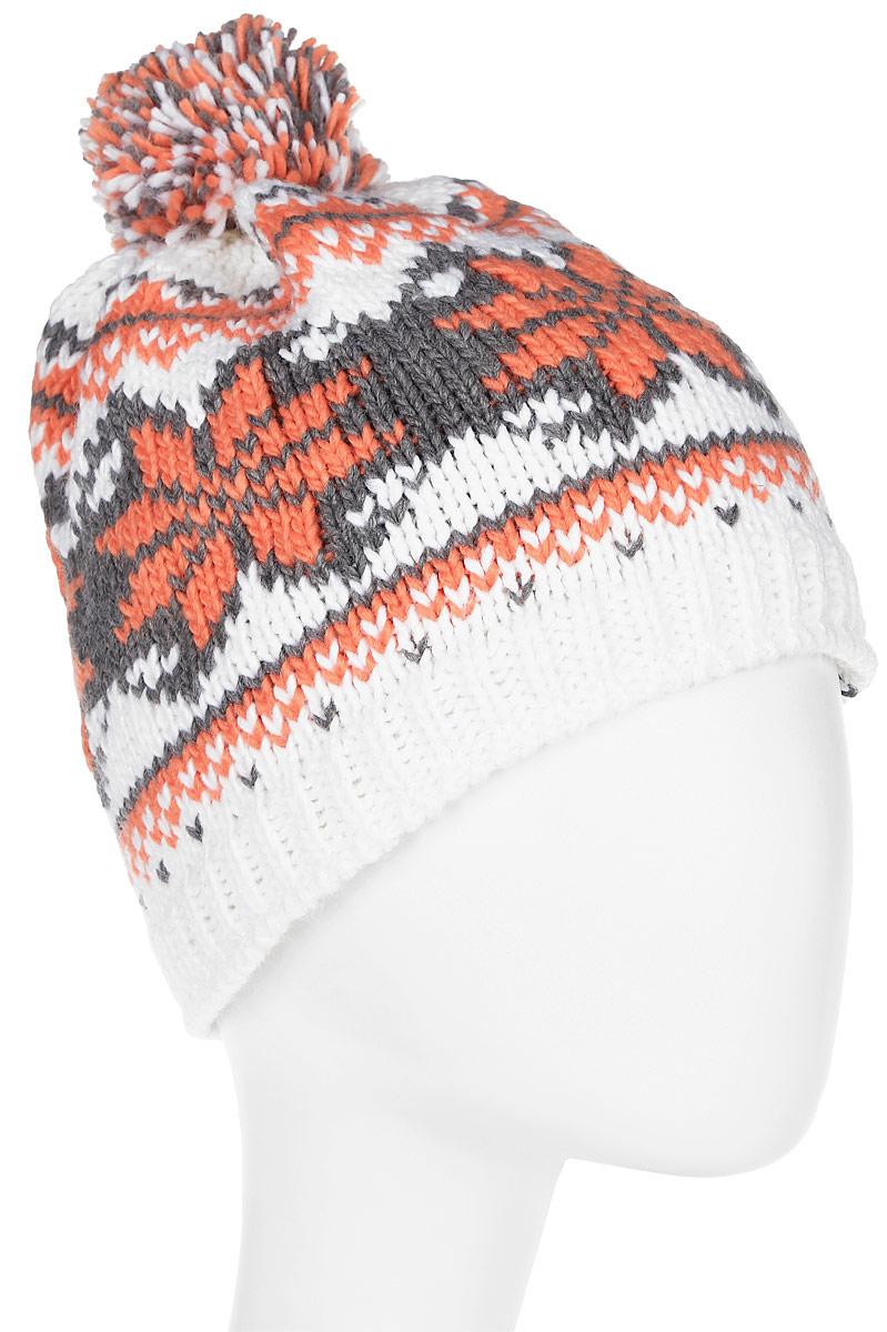 Шапка женская Icepeak, цвет: белый, оранжевый. 855848613IV-980. Размер универсальный855848613IV-980