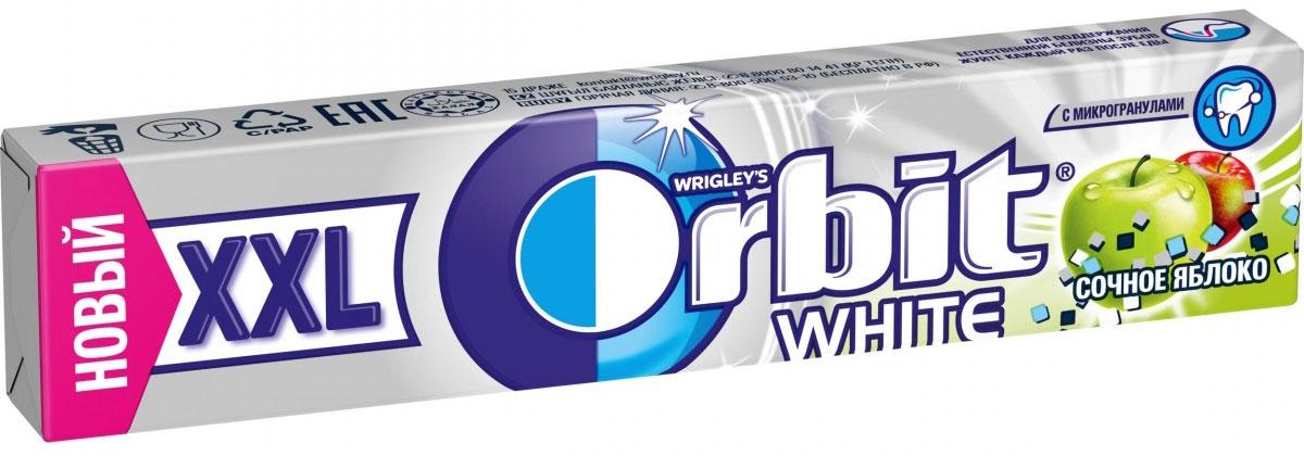 Orbit XXL White Сочное яблоко жевательная резинка без сахара, 20,4 г ментос pure fresh tutti frutti жевательная резинка 54 г