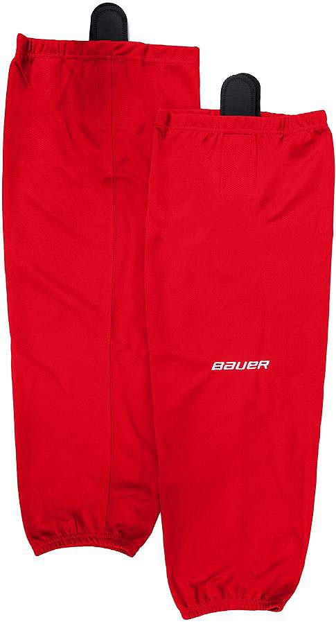 Хоккейные гамаши Bauer - отличного стиля и качества, сделаны из полиэстера повышенной прочности. Имеют липучки для крепления и эластичный крой в колене и голеностопе для свободы движения. Превосходно смотрятся с тренировочными майками Bauer.