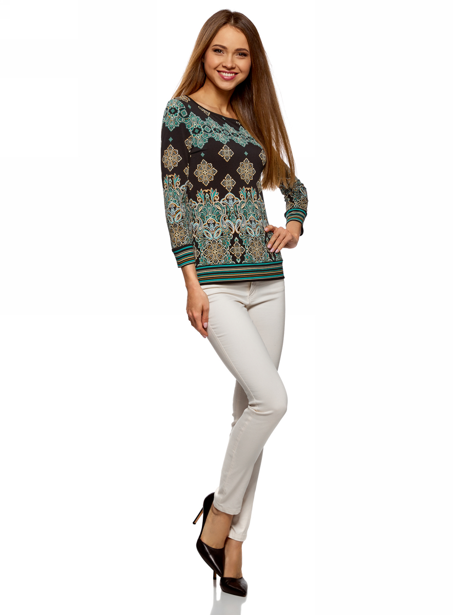 Джемпер женский oodji Collection, цвет: темно-коричневый, бирюза. 24201025/46384/3973E. Размер S (44)24201025/46384/3973E