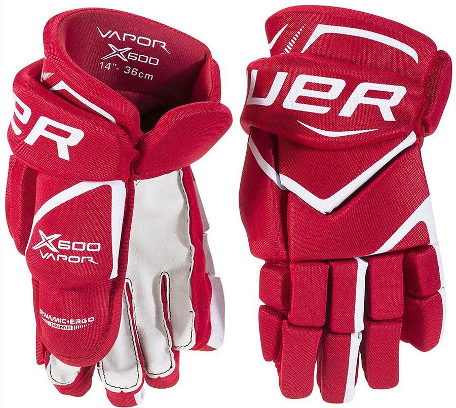 Перчатки хоккейные Bauer Vapor X600, цвет: красный. 1049179. Размер 141049179Перчатки Bauer Vapor X600 обеспечивают более быстрые движения рук. При этом они обеспечивают защиту и эффективность.