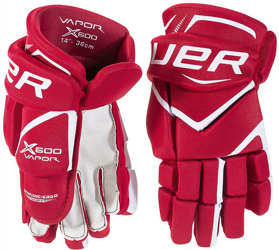 Перчатки хоккейные Bauer Vapor X600, цвет: красный. 1049179. Размер 151049179Перчатки Bauer Vapor X600 обеспечивают более быстрые движения рук. При этом они обеспечивают защиту и эффективность.