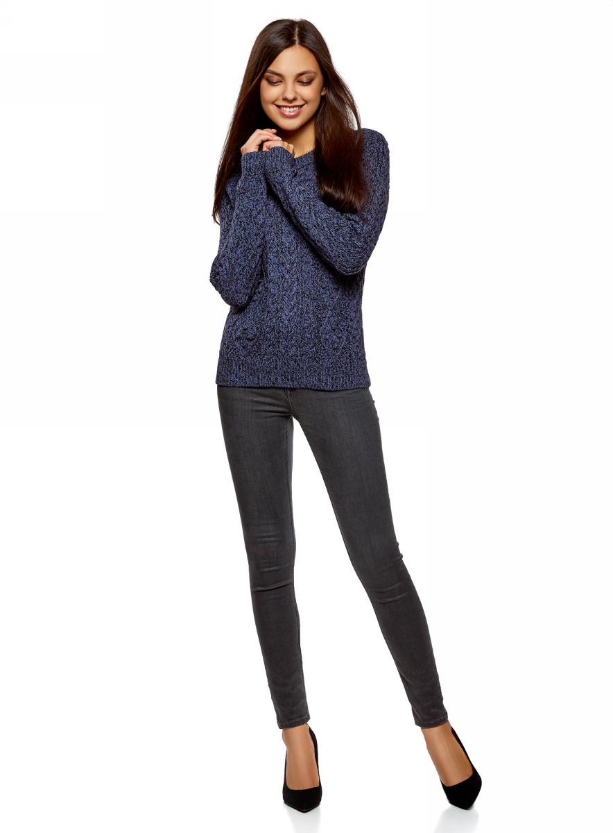 Джемпер женский oodji Ultra, цвет: синий, черный меланж. 63805262-2/31347/7529M. Размер XS (42)63805262-2/31347/7529M