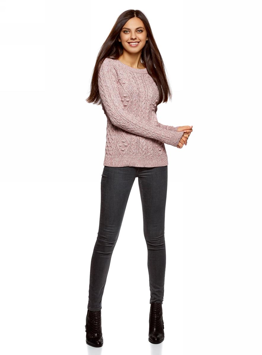 Джемпер женский oodji Ultra, цвет: пыльный розовый, белый меланж. 63805262-2/31347/4A12M. Размер S (44)63805262-2/31347/4A12MВязаный джемпер от oodji выполнен из хлопково-акриловой пряжи. Модель фактурной вязки с длинными рукавами и круглым вырезом горловины.