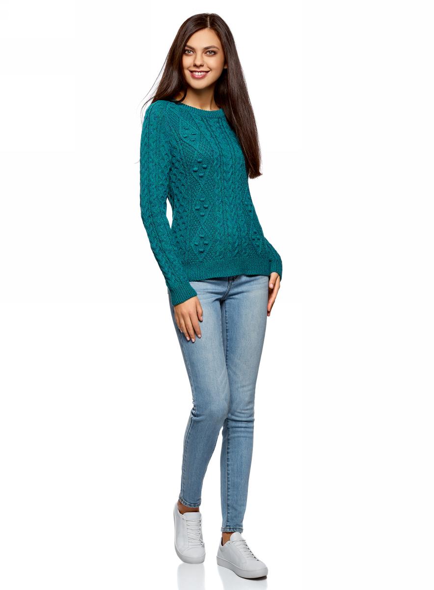 Джемпер женский oodji Ultra, цвет: изумрудный, синий меланж. 63805262-2/31347/6D75M. Размер L (48)63805262-2/31347/6D75MВязаный джемпер от oodji выполнен из хлопково-акриловой пряжи. Модель фактурной вязки с длинными рукавами и круглым вырезом горловины.