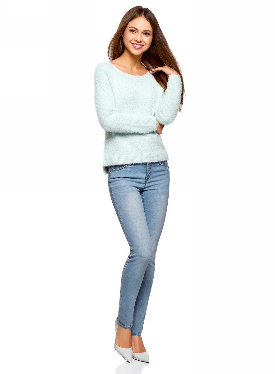 Джемпер женский oodji Ultra, цвет: голубой. 63805314/47433/7000N. Размер M (46)63805314/47433/7000N