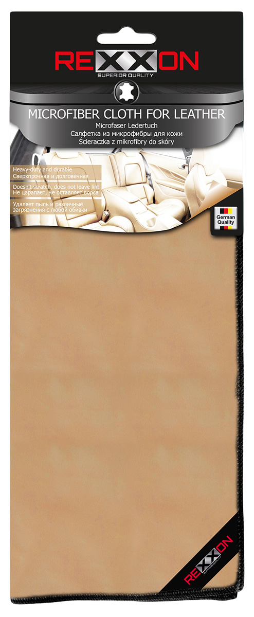 Салфетка Rexxon для кожаных поверхностей автомобиля, 35 х 35 см2-6-1-2-2Салфетка Rexxon используется при чистке кожаных поверхностей автомобиля. Она изготовлена из микрофибры, которая благодаря своей структуре эффективно удаляет грязь и пыль.Микрофибровое полотно удаляет грязь с поверхности намного эффективнее, быстрее и значительно более бережно в сравнении с обычной тканью, что существенно снижает время на проведение уборки, поскольку отсутствует необходимость протирать одно и то же место дважды. Микрофибра устойчива к истиранию, ее можно быстро вернуть к первоначальному виду с помощью ручной стирки при температуре 60°С. Приобретая такую салфетку каждый владелец сможет обеспечить достойный уход за любимым транспортным средством.