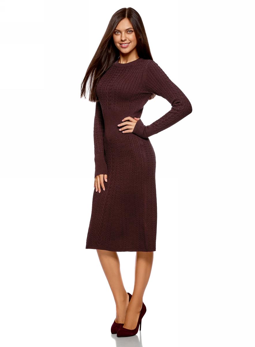 Платье oodji Ultra, цвет: бордовый меланж. 63912227/47346/4900M. Размер L (48)63912227/47346/4900M