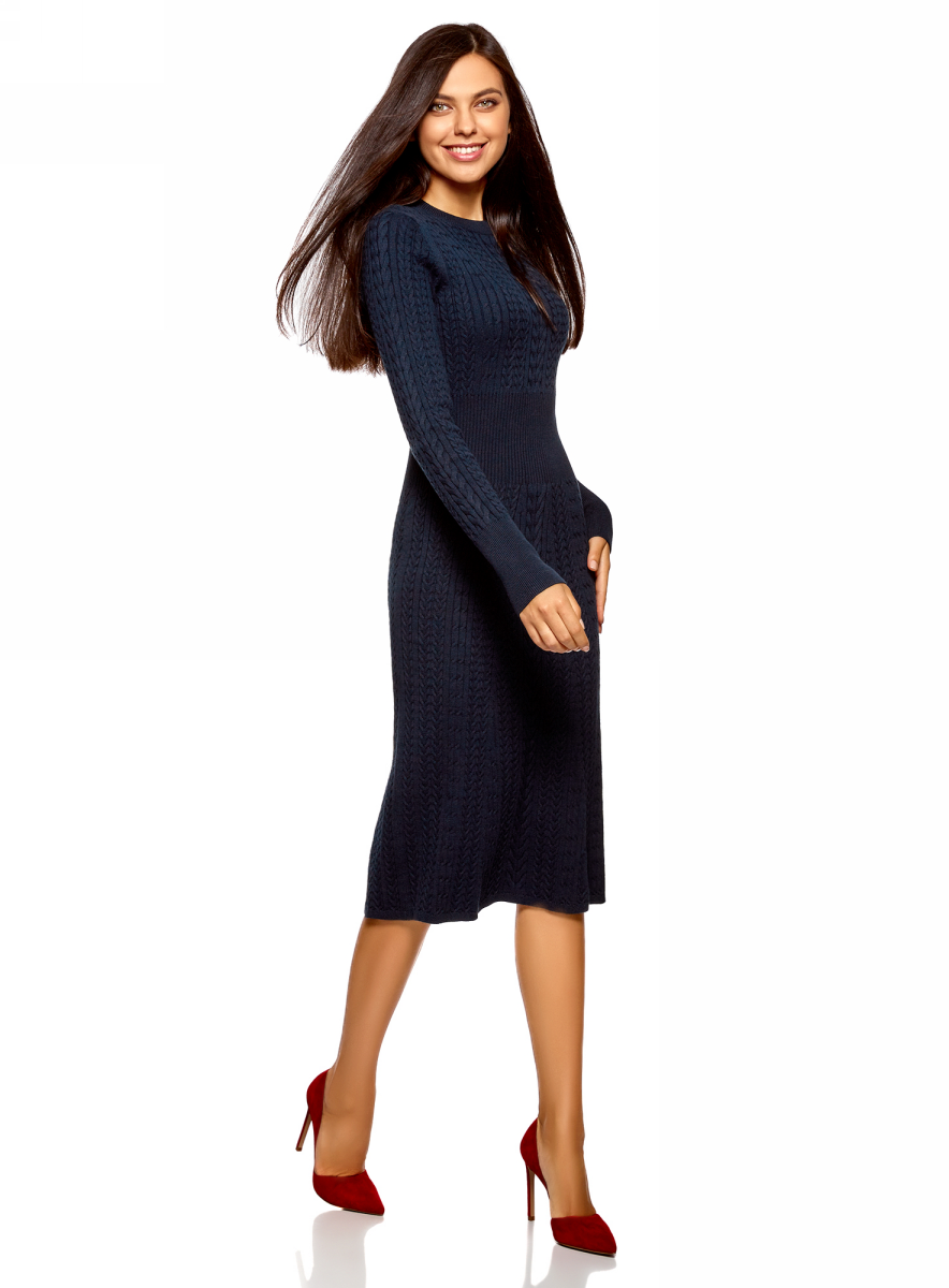 Платье oodji Ultra, цвет: темно-синий. 63912227/47346/7900N. Размер L (48)63912227/47346/7900N