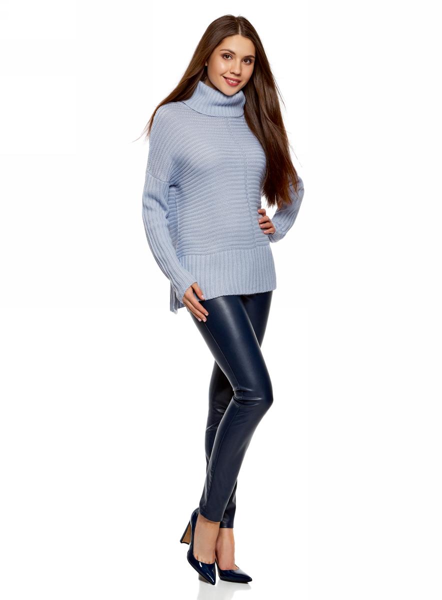 Свитер женский oodji Ultra, цвет: голубой. 64405091/47340/7000N. Размер XS (42)64405091/47340/7000N