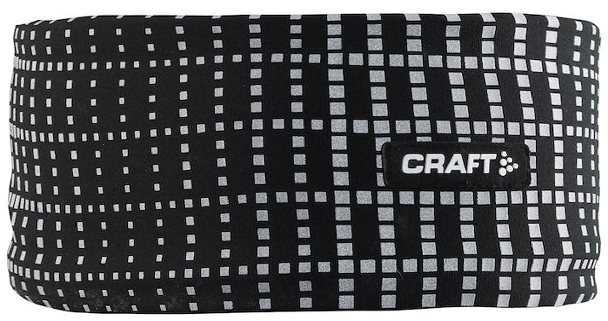 Повязка на голову Craft Brilliant 2.0, цвет: черный. 1904303/9999. Размер L/XL (58)1904303/9999Мягкая и теплая повязка на голову со светоотражающим принтом