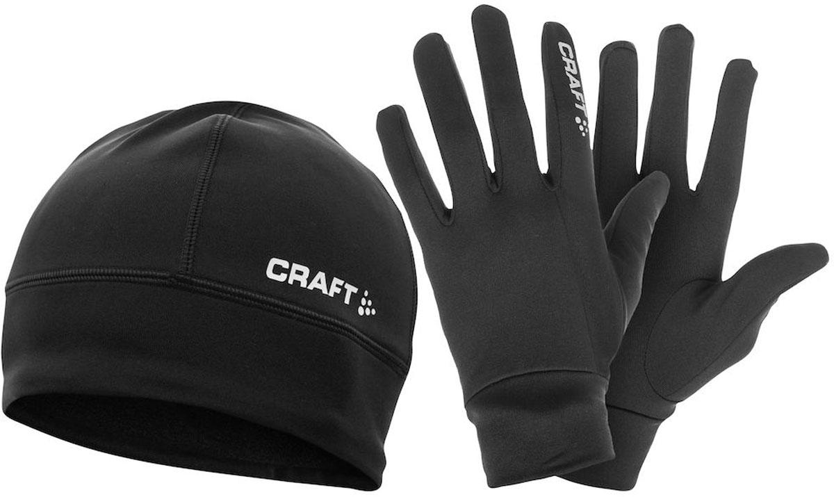 Комплект Craft Thermal: шапка, перчатки, цвет: черный. 1902959/9999. Размер M (48)1902959/9999Комплект Craft Thermal состоит из термо-перчаток и термо-шапки, предназначенных для тренировок в холодное время года. Изделия выполнены из легкого эластичного материала и оформлены фирменным логотипом с названием бренда.