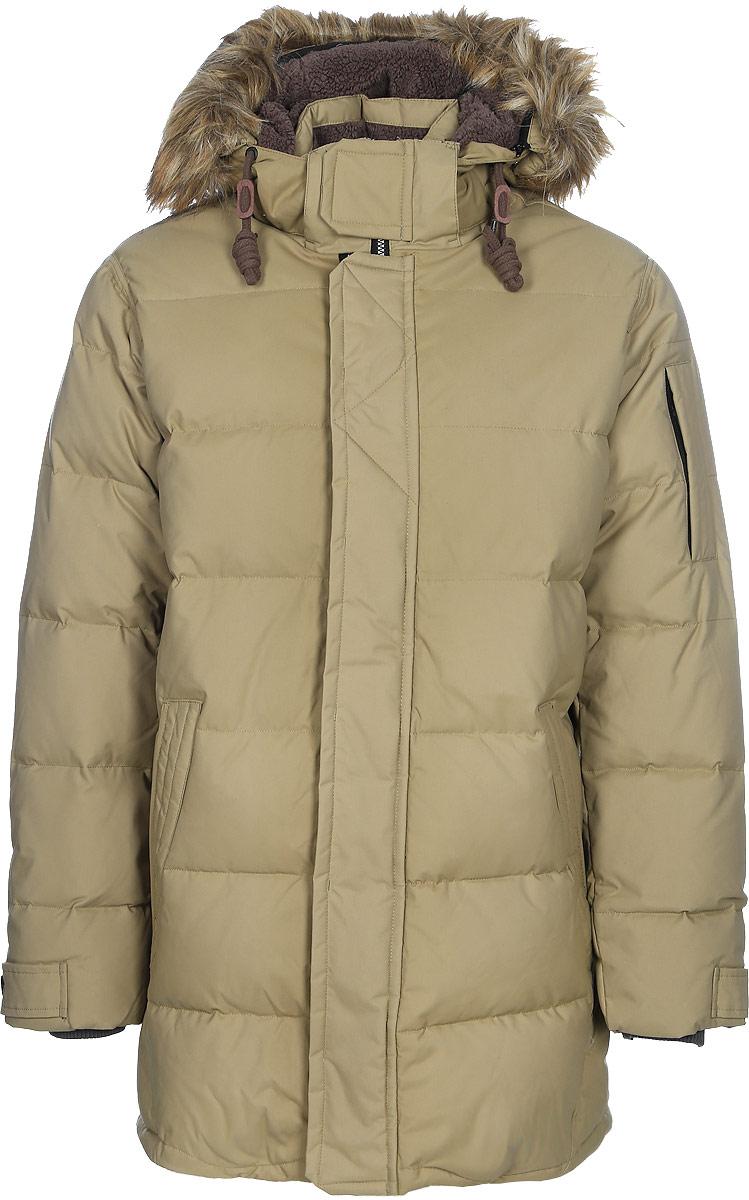 Пальто мужское Luhta, цвет: бежевый. 838541377L7V_050. Размер 54838541377L7V_050Мужское пальто Luhta выполнено из высококачественного полиамида. Модель с воротником-стойка и капюшоном застегивается на застежку-молнию и ветрозащитный клапан. Изделие оснащено двумя прорезными карманами и на рукаве прорезным карманом на застежке-молнии. Рукава дополнены внутренними текстильными манжетами. Объем капюшона регулируется при помощи шнурка со стопперами. Капюшон дополнен мехом.