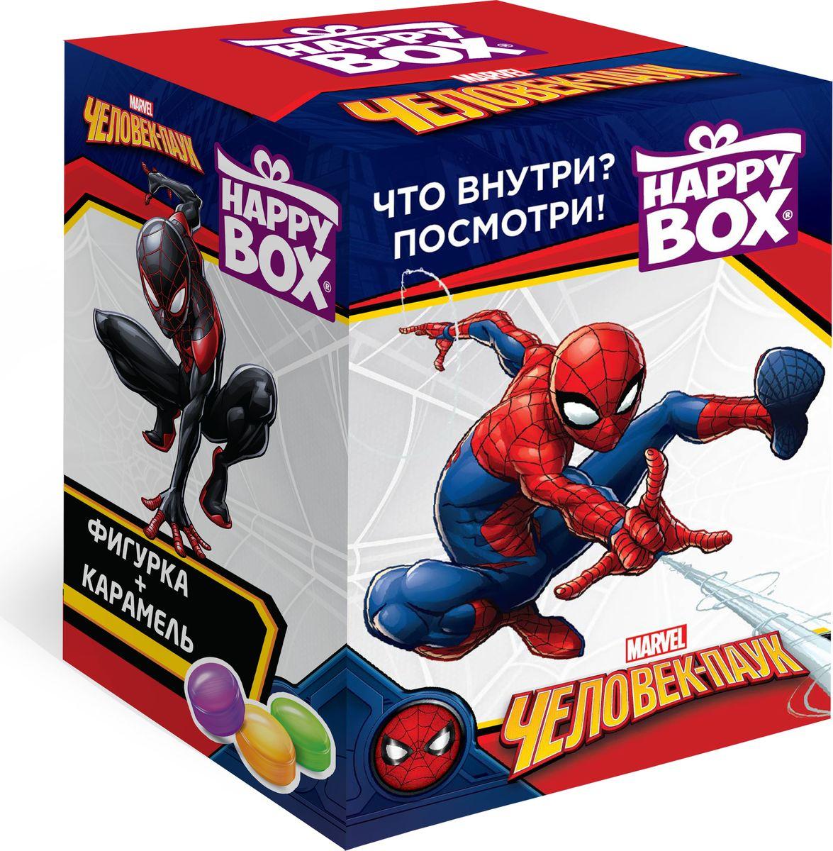 Happy Box Человек Паук карамель с игрушкой, 18 гHB-2-18Человек-паук едва ли не самый известный из героев Вселенной Marvel. По-настоящему большие игрушки. Каждая из них 6-7 см в высоту и 5-6 см в ширину. Всего в коллекции представлено 6 игрушек с собственными специальными подставками, благодаря которым они