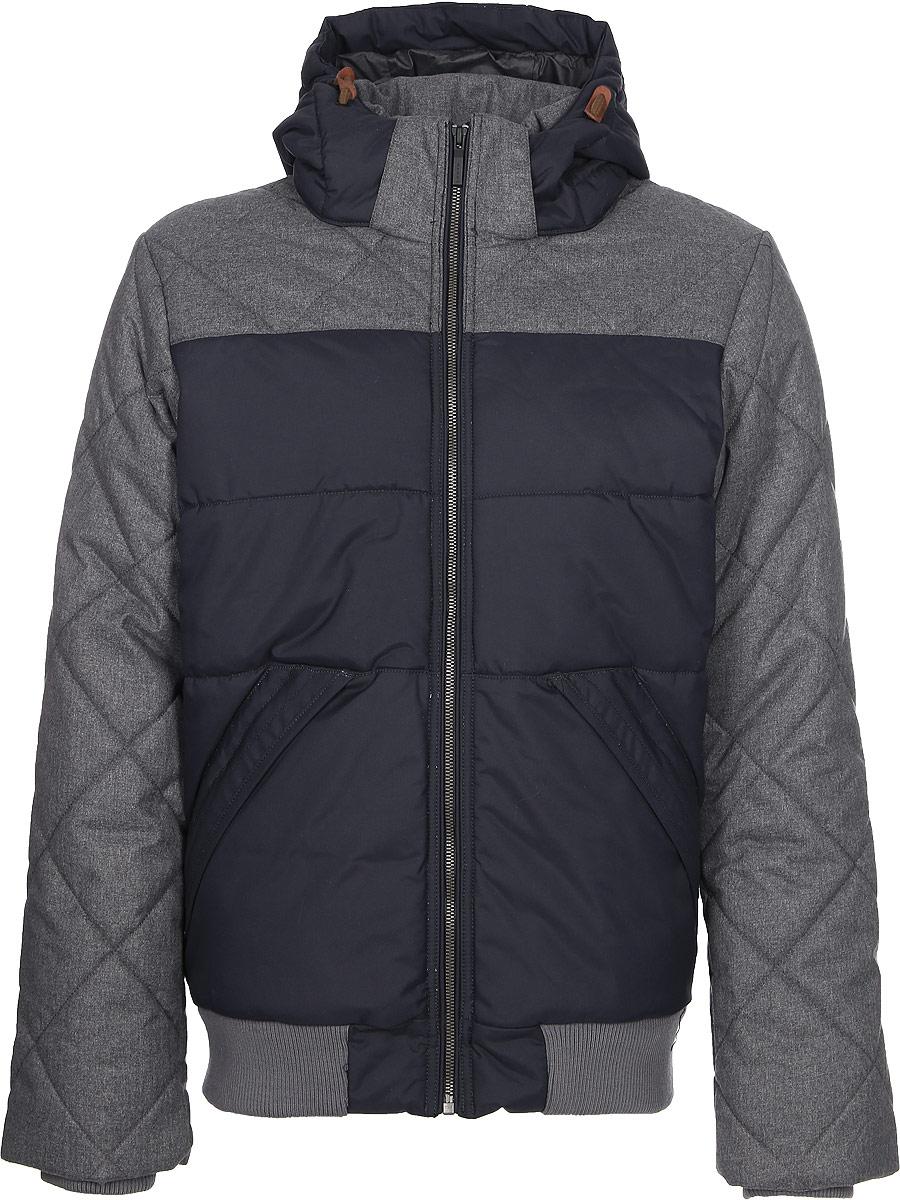 Куртка мужская Luhta, цвет: серый, черный. 838539377LV_280. Размер 50838539377LV_280Мужская куртка Luhta выполнена из высококачественного полиамида. Модель с воротником-стойка и капюшоном застегивается на застежку-молнию. Изделие оснащено двумя прорезными карманами, с внутренней стороны - прорезным карманом на застежке-молнии. Рукава и низ изделия дополнены внутренними текстильными манжетами. Объем капюшона регулируется при помощи эластичных шнурков.