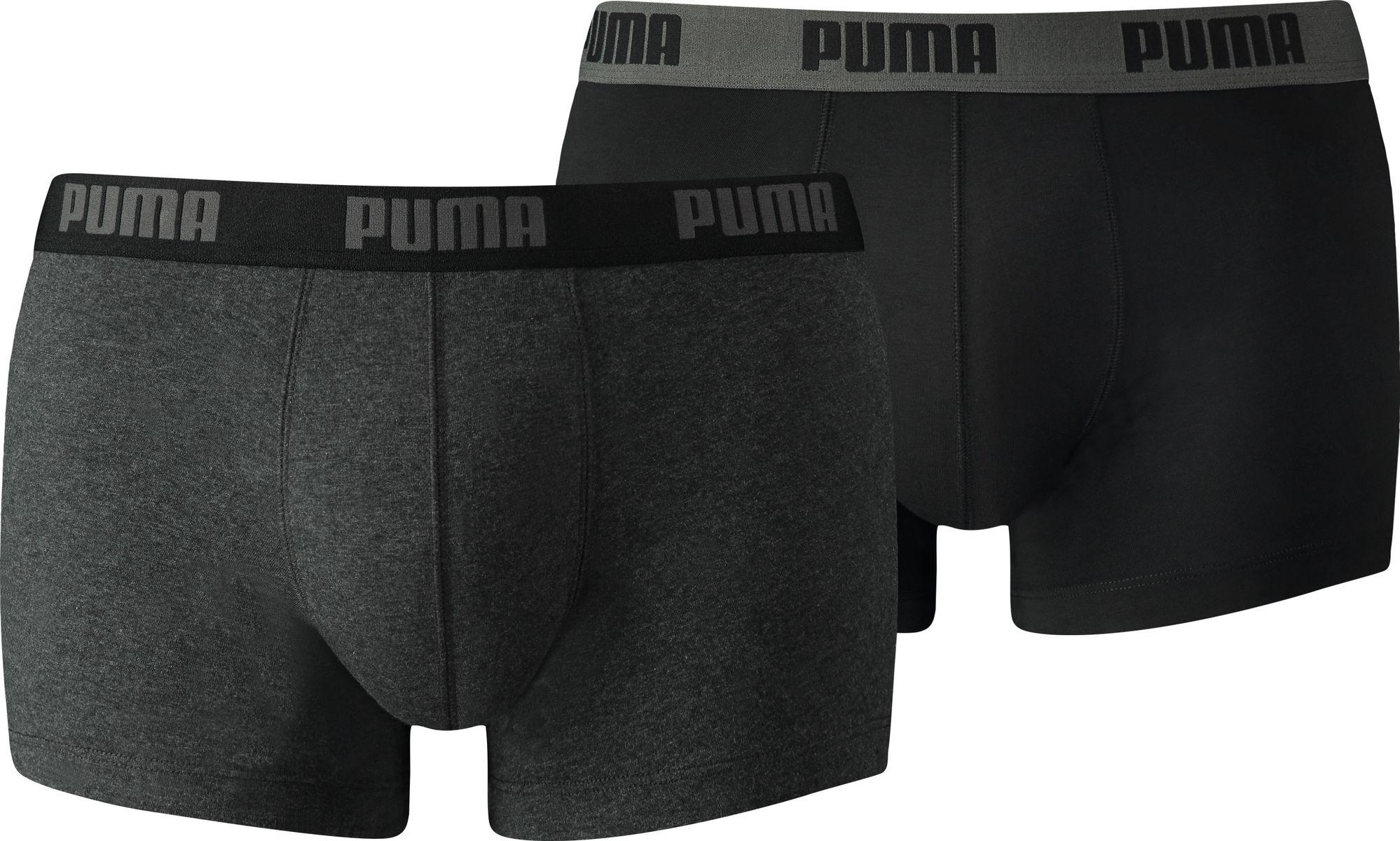 Трусы-боксеры мужские Puma Basic Trunk 2p, цвет: темно-серый, 2 шт. 88887062. Размер S (44/46)