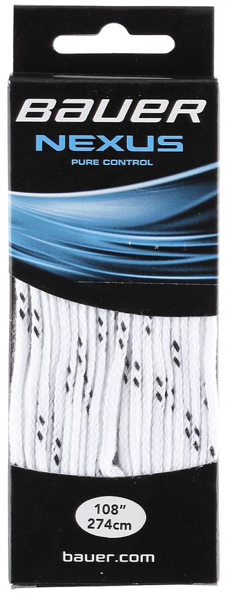 Шнурки Bauer Nexus, с пропиткой, цвет: белый, 274 см. 10471991047199Качественные шнурки для хоккейных ботинок Bauer Nexus являются официальной заменой для любой хоккейной обуви производства Bauer.При производстве шнурков используются качественные материалы, что обеспечивает высокую износостойкость и длительный период эксплуатации. Шнурки не намокают и не вытягиваются, хорошо держат узел. Концы шнурков снабжены наконечниками, что предотвращает распушение и обеспечивает удобство при шнуровке.
