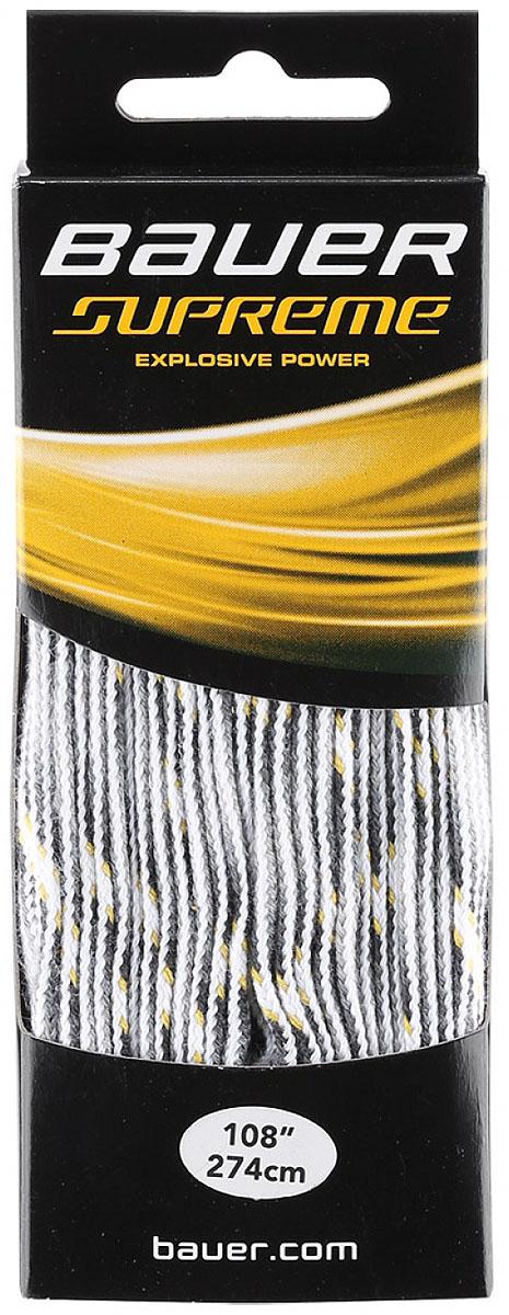 Шнурки Bauer Supreme, без пропитки, цвет: белый, 274 см. 10471971047197Качественные шнурки для хоккейных ботинок Bauer Supreme являются официальной заменой для любой хоккейной обуви производства Bauer.При производстве шнурков используются качественные материалы, что обеспечивает высокую износостойкость и длительный период эксплуатации. Шнурки не намокают и не вытягиваются, хорошо держат узел. Концы шнурков снабжены наконечниками, что предотвращает распушение и обеспечивает удобство при шнуровке.