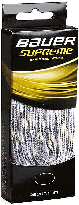 Шнурки Bauer Supreme, без пропитки, цвет: белый, 244 см. 10471971047197Качественные шнурки для хоккейных ботинок Bauer Supreme являются официальной заменой для любой хоккейной обуви производства Bauer.При производстве шнурков используются качественные материалы, что обеспечивает высокую износостойкость и длительный период эксплуатации. Шнурки не намокают и не вытягиваются, хорошо держат узел. Концы шнурков снабжены наконечниками, что предотвращает распушение и обеспечивает удобство при шнуровке.
