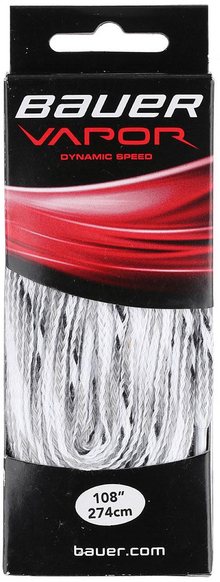Шнурки Bauer Vapor, без пропитки, цвет: белый, 274 см. 10471981047198Качественные шнурки для хоккейных ботинок Bauer Vapor являются официальной заменой для любой хоккейной обуви производства Bauer.При производстве шнурков используются качественные материалы, что обеспечивает высокую износостойкость и длительный период эксплуатации. Шнурки не намокают и не вытягиваются, хорошо держат узел. Концы шнурков снабжены наконечниками, что предотвращает распушение и обеспечивает удобство при шнуровке.