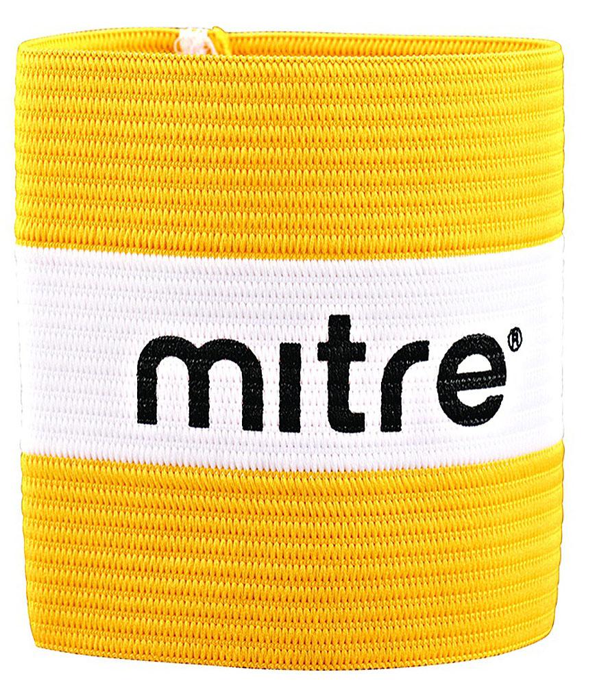 Капитанская повязка Mitre, цвет: желтый, белый, 10 x 7 смА4029AYB1Яркая повязка на руку Mitre применяется для того, чтобы выделить на поле капитана команды. Выполнено изделие из высококачественного текстиля. Размер повязки: 10 x 7 см.